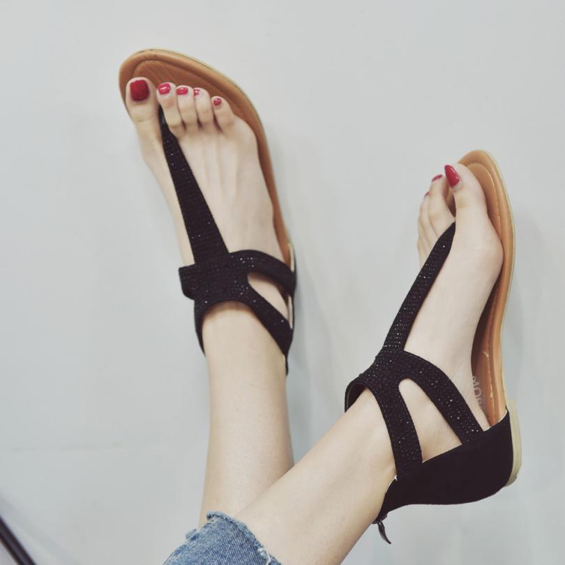 609c10dc9 mokingtop women Summer sandals Women Diamond Zipper Gladiator Low Flat Flip  Flops Beach Sandals Bohemia Shoes   -in Low Heels from Shoes on  Aliexpress.com ...
