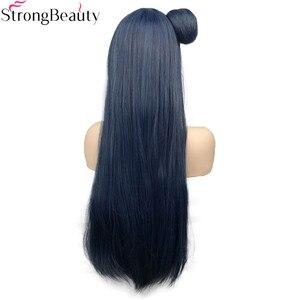 Image 4 - חזק יופי סינטטי ארוך 70 cm כחלחל גריי פאות ישר נשים פאה עם שיער פקעת צושימה Yoshiko
