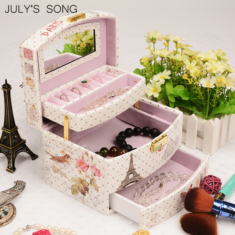 JULY S SONG Jewelry Organizer Box Leather Earring Storage Box Ring Storage case Container Travel Casket