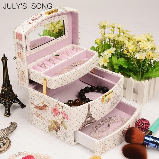 JULYS SONG مجوهرات المنظم صندوق جلد القرط صندوق تخزين حلقة حقيبة للتخزين حاوية السفر النعش للزينة هدية صندوق