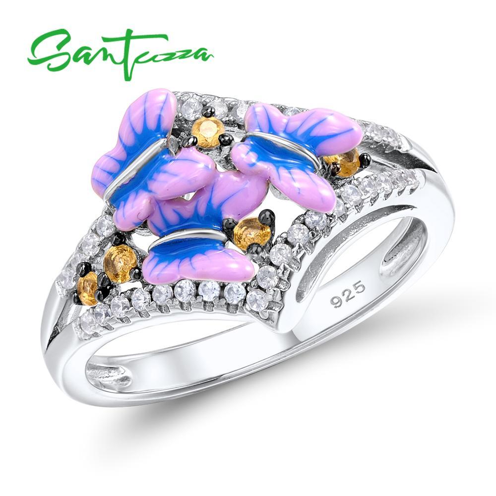 حلقه نقره ای SANTUZZA برای زنان 925 پری استرلینگ نقره ای پروانه حلقه ای حلقه های مکعب زیرکونیای حلقه مکعب Zubonia حلقه جواهرات HANDMADE