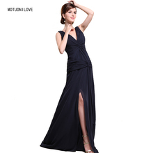 Navy Blue Split Sexy Evening Dresses Elegant V Neck Ruched Chiffon Long Formal Gowns Women Prom Party Dress Abendkleider