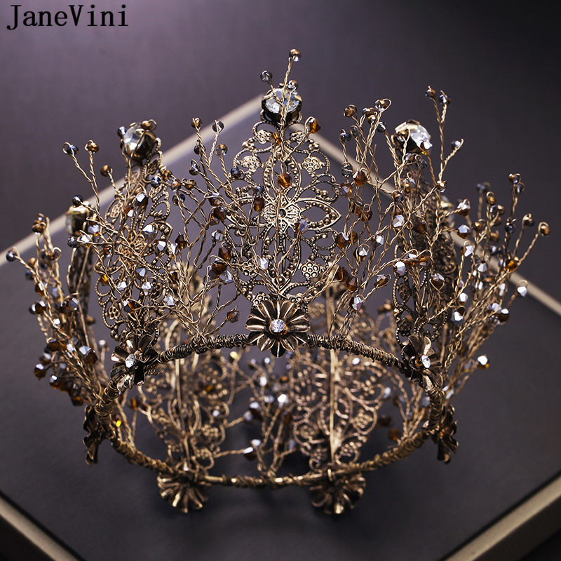 JaneVini Vintage Baroque Gold Full Round Beaded Big Princess Crown for Wedding Tiara Bridal Hair Jewelry Queen Crown AccessoriesJaneVini Vintage Baroque Gold Full Round Beaded Big Princess Crown for Wedding Tiara Bridal Hair Jewelry Queen Crown Accessories