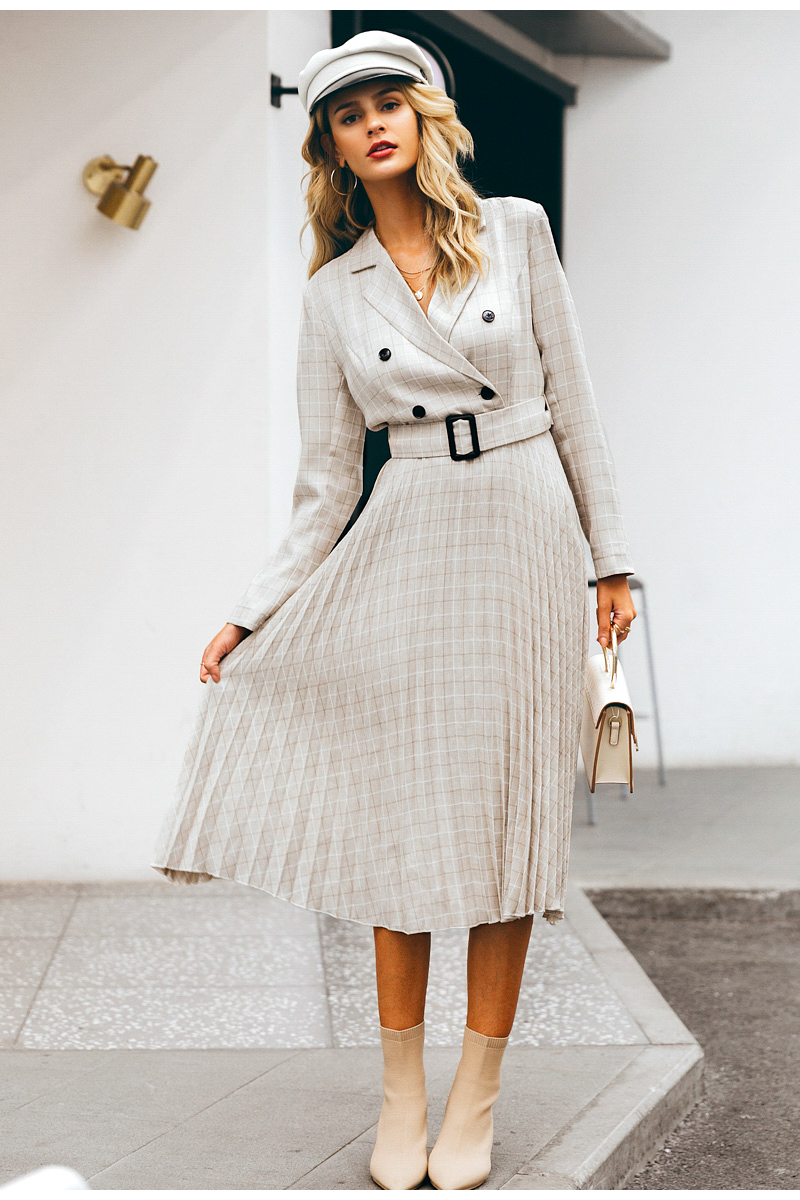 Simplee A-line v-neck blazer women midi dress Elegant long sleeve button sash female blazer dress Pleated office ladies dress 8