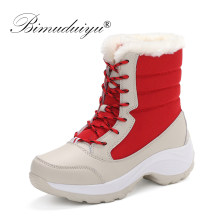 BIMUDUIYU Weibliche Winter Frauen Schnee Stiefel Mid-kalb Stiefel Halten Warme Schuhe Plattform Wasserdicht Plüsch High Cut Schuhe Winter stiefel(China)