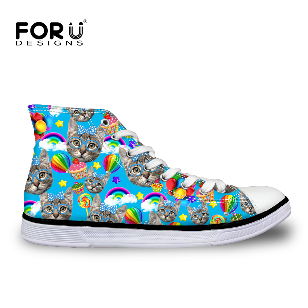 ФОТО 2017 cute kitty cat printed high top shoes for teenage casual flats men walking shoes spring canvas platform mujer zapatillas