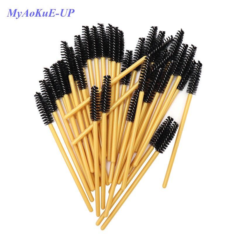 200pcs/lot Disposable Mascara Wands Golden Handle Black Brushes Lashes Nylon Makeup Brushes Eyelash Extension Tools