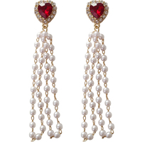Anti Allergy Factory origional design red heart earring Fashion pearl tassel long style ear accessory OEM ODM SERVICE
