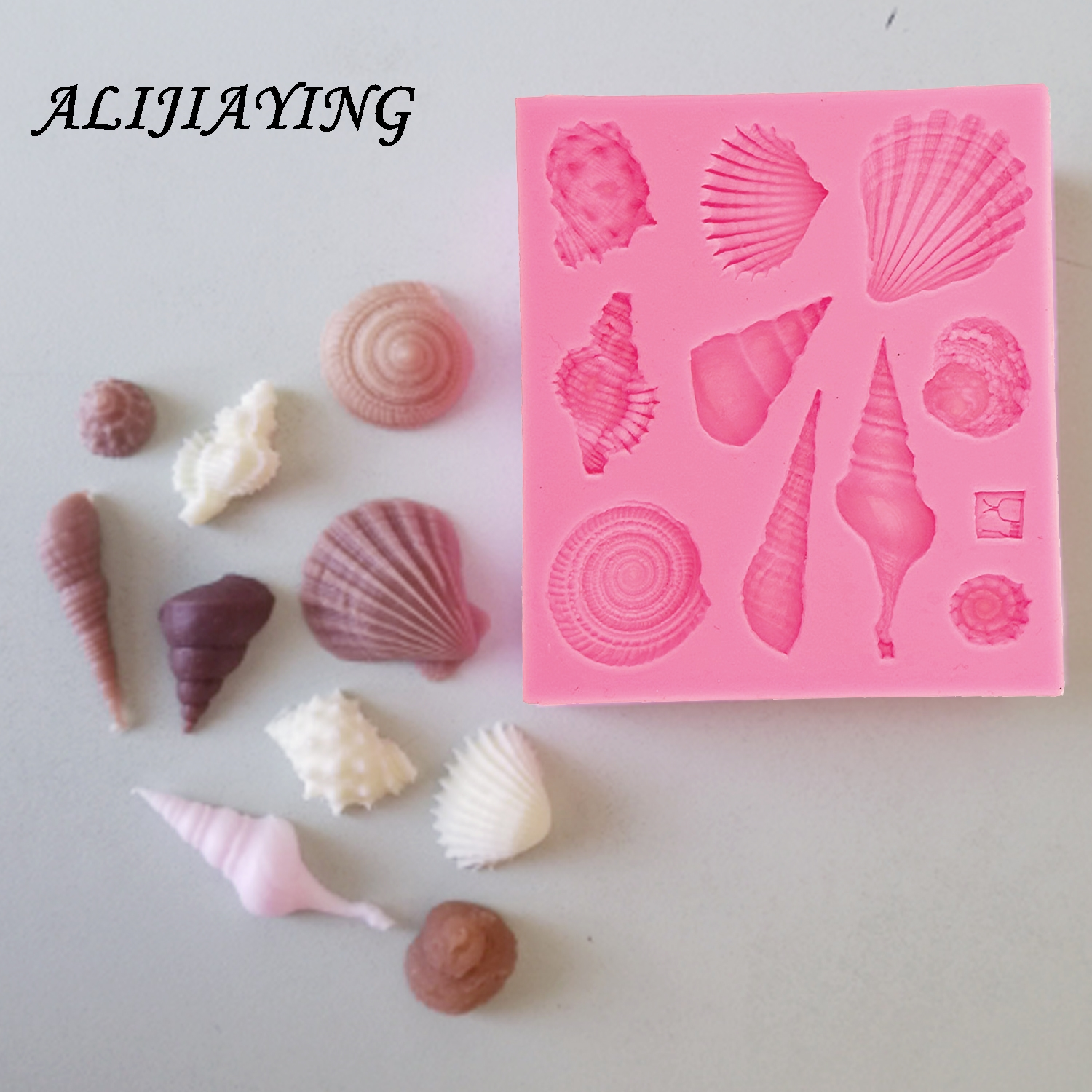 1Pcs DIY Lovely Shell Starfish Conch Sea Silicone Mold Fondant Cake Decorating Tools Soap Mold Cake Chocolate D0542(China)