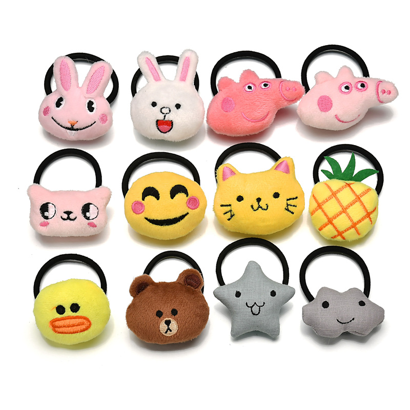 10Pcs/Lot Girls Women Hair Accessories Cotton Cartoon Plush Bear Elastic Hair Band Kids Animal Fruit Hair Rubber Bands   Headwear