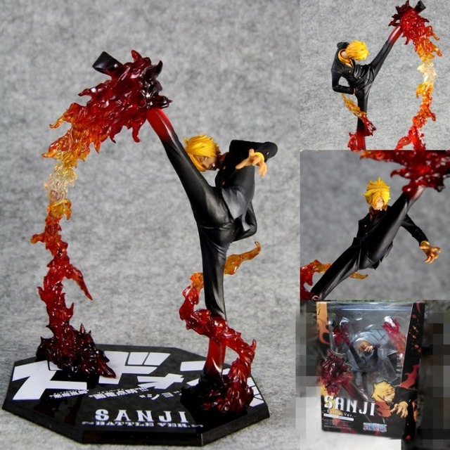 """Anime One Piece Cool 6.8"""" One Piece Black Leg Sanji Fire Battle Version Boxed PVC Action Figure Collection Model Toy A213"""