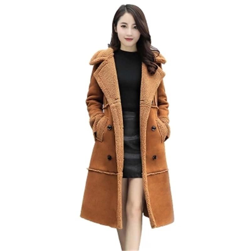 2018 Winter Coat Women Loose Wool Coat   Parka   Lamb Suede Coat Female Wadded Cotton Jacket Women Basic Coats,Manteau Femme L970
