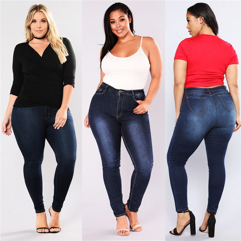 Brand New Spring Summer Woman Gradient Denim Jeans Elastic High Waist Trouser Ladies Pencil Blue Jeans Streetwear Plus Size
