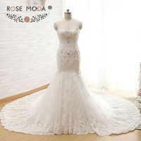 Rose Moda Luxury Lace Wedding Dress Crystal Beaded Mermaid Wedding Dresses with Royal Train Lace Up Back