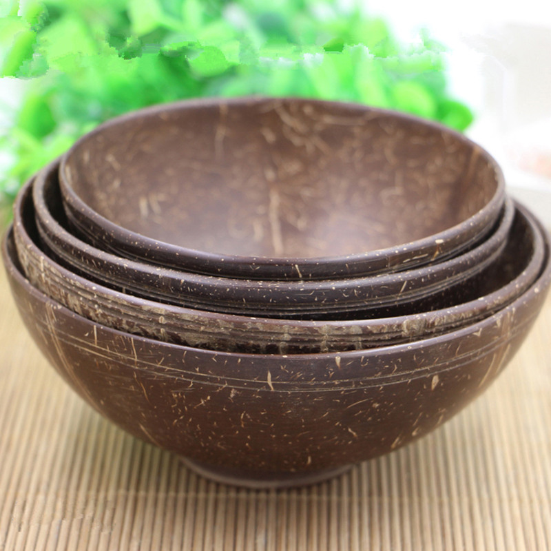 Coconut Shell Bowl Handmade Tableware Dinnerware Adult Dinner Service No Paint No Wax Children Adult Family Bowls