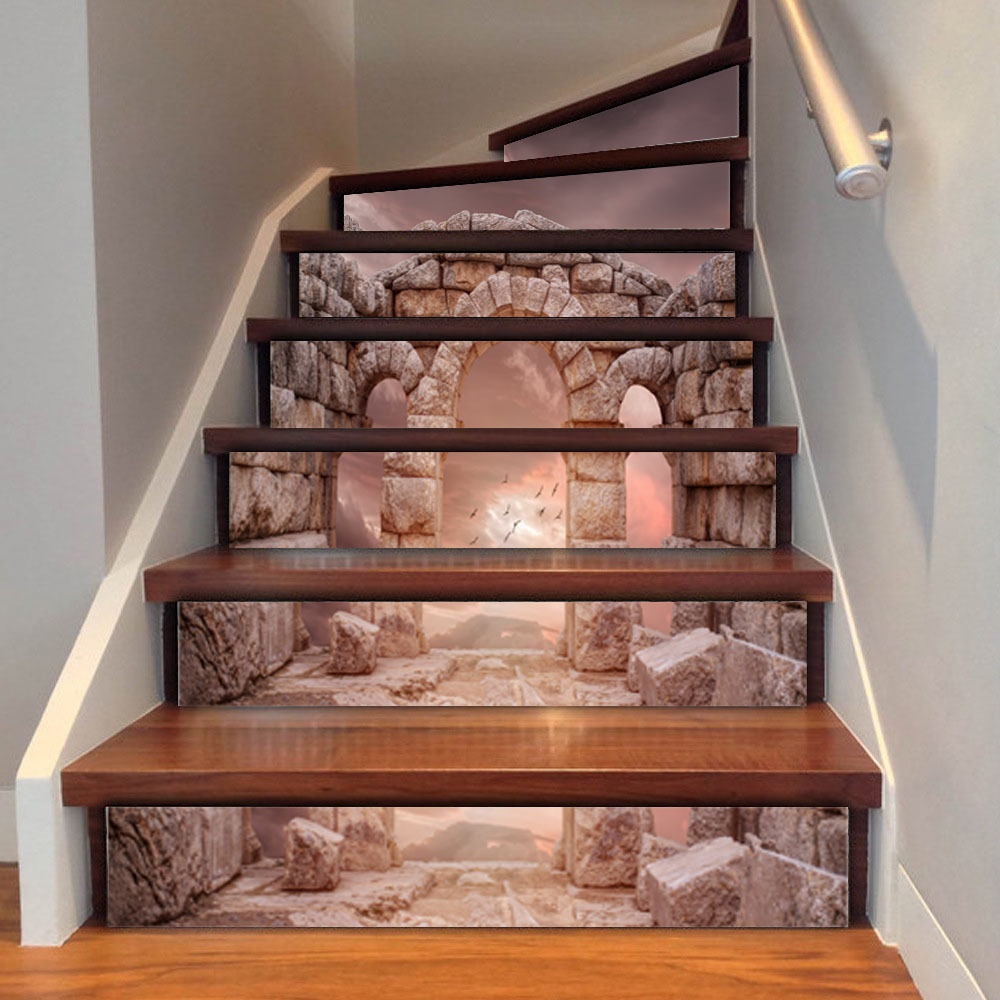 3d diy retro style tile stairs stickers removable waterproof wallpaper stickers self adhesive stair riser for home decor
