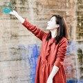 LinenAll оригинальный дизайн 2016 женщин красный зима с длинными рукавами плюс бархат утолщение старинные пуловеры полный платье платье женщина суо