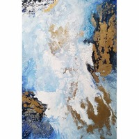 Handmade Thick Knife Abstract High Quality Oil Painting Beautiful Gold Foil Abstract Color On Canvas Decor