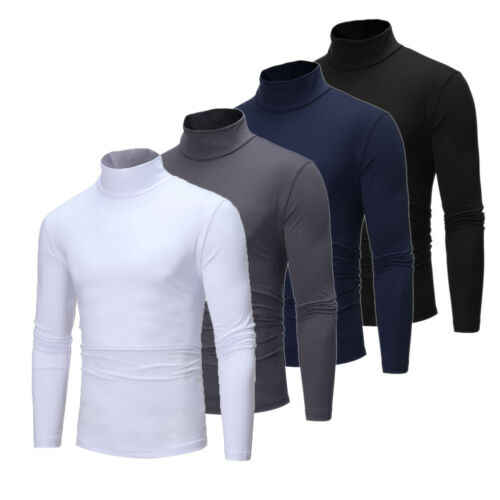 Männer Winter Warm Langen Hülse Baumwolle Baumwolle High Neck Pullover Pullover Tops Rollkragen UK