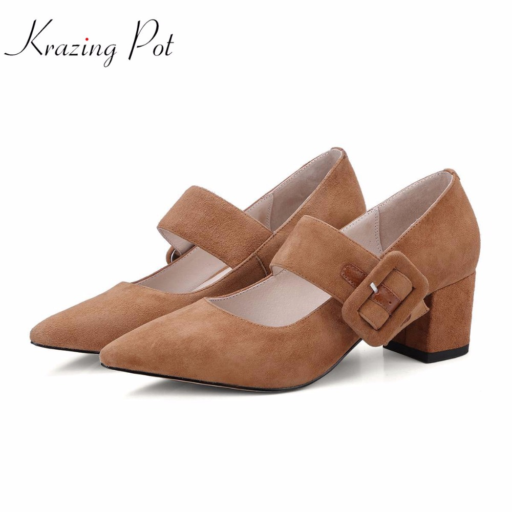 Krazing pot European new kid suede brand shoes pointed toe buckle straps gladitor thick high heels women pumps shallow shoes L17 krazing pot shallow sheep suede metal buckle thick high heels pointed toe pumps princess style solid office lady work shoes l05