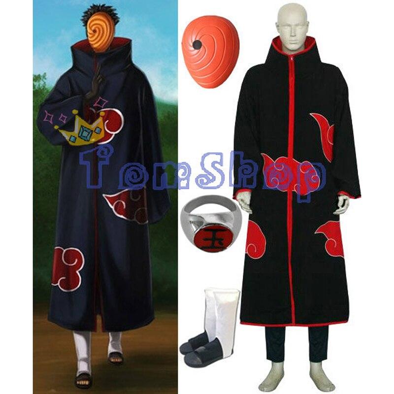 Аниме Наруто Акацуки Тоби Мадара Учиха Deluxe Edition Косплэй костюм 4 в 1 Оптовая комбинированный набор (плащ + маска + сапоги + кольцо)