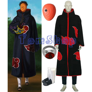 Image 1 - Anime Naruto Akatsuki Tobi Madara Uchiha Deluxe Edition Cosplay Costume 4 in 1 Wholesale Combo Set (Cloak + Mask + Boots +Ring)