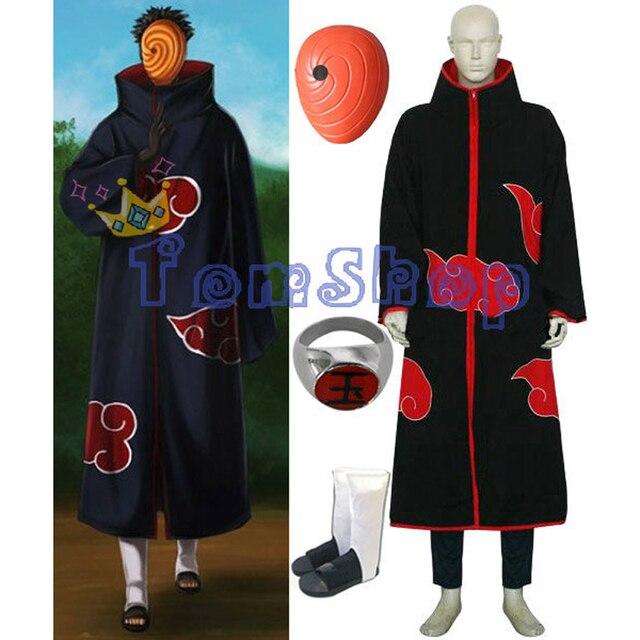 Anime Naruto Akatsuki Tobi Madara Uchiha Deluxe Edition Cosplay Costume 4 in 1 Wholesale Combo Set (Cloak + Mask + Boots +Ring)