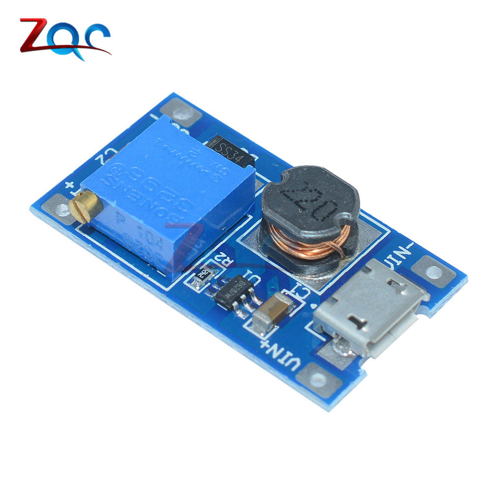 5PCS MT3608 DC-DC Adjustable Boost Module 2A Boost Plate Step Up Module With Micro USB LM2577 Replace XL6009