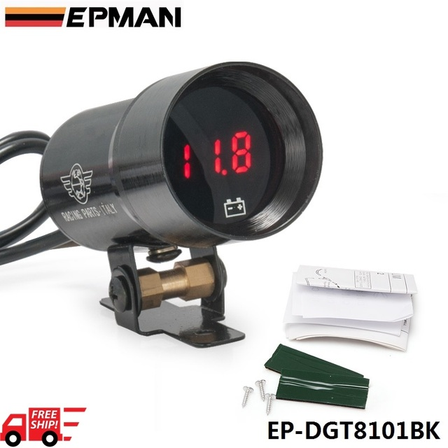 EPMAN 37mm Universal Compact Micro Digital Smoked Lens Volt Battery Gauge Red LED Display Black EP-DGT8101BK-FS