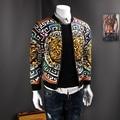 Мода мужская куртка воротник Кардиган Куртки отдыха личности шаблон осень горячей продажи куртки мужчины