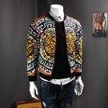 fashion men's jacket collar Cardigan Jacket  leisure personality pattern  fall hot sale jacket men