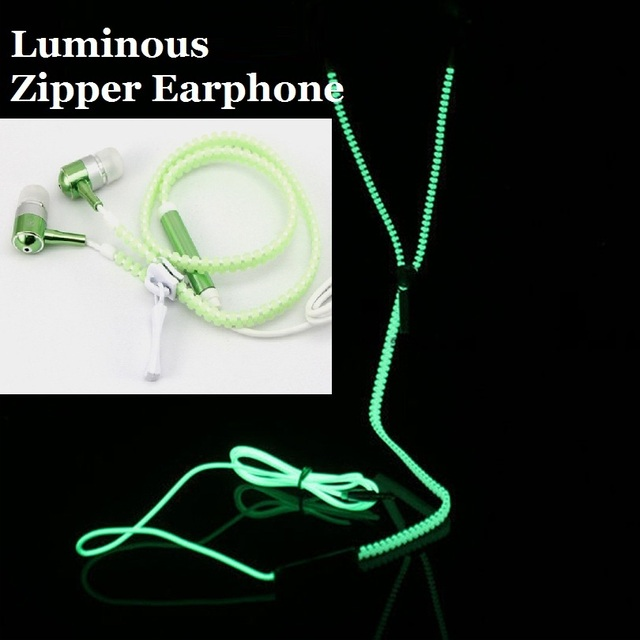 With Mic Luminous Light Glow in the Dark Zipper Earphone for Mobile Phone MP3 MP4 Fashion Creative Sports Earphones Headset