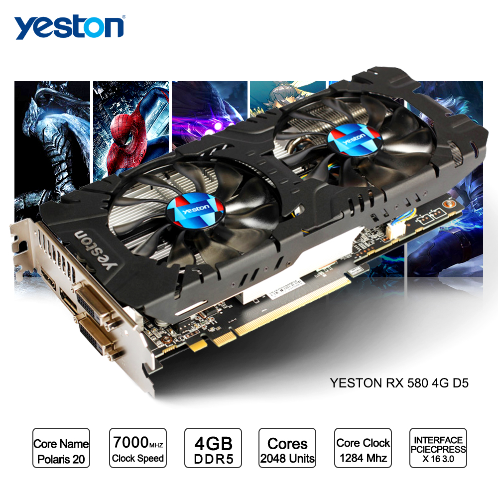 Yeston Radeon RX 580 GPU 4GB GDDR5 256bit Gaming Desktop computer PC Video Graphics Cards support