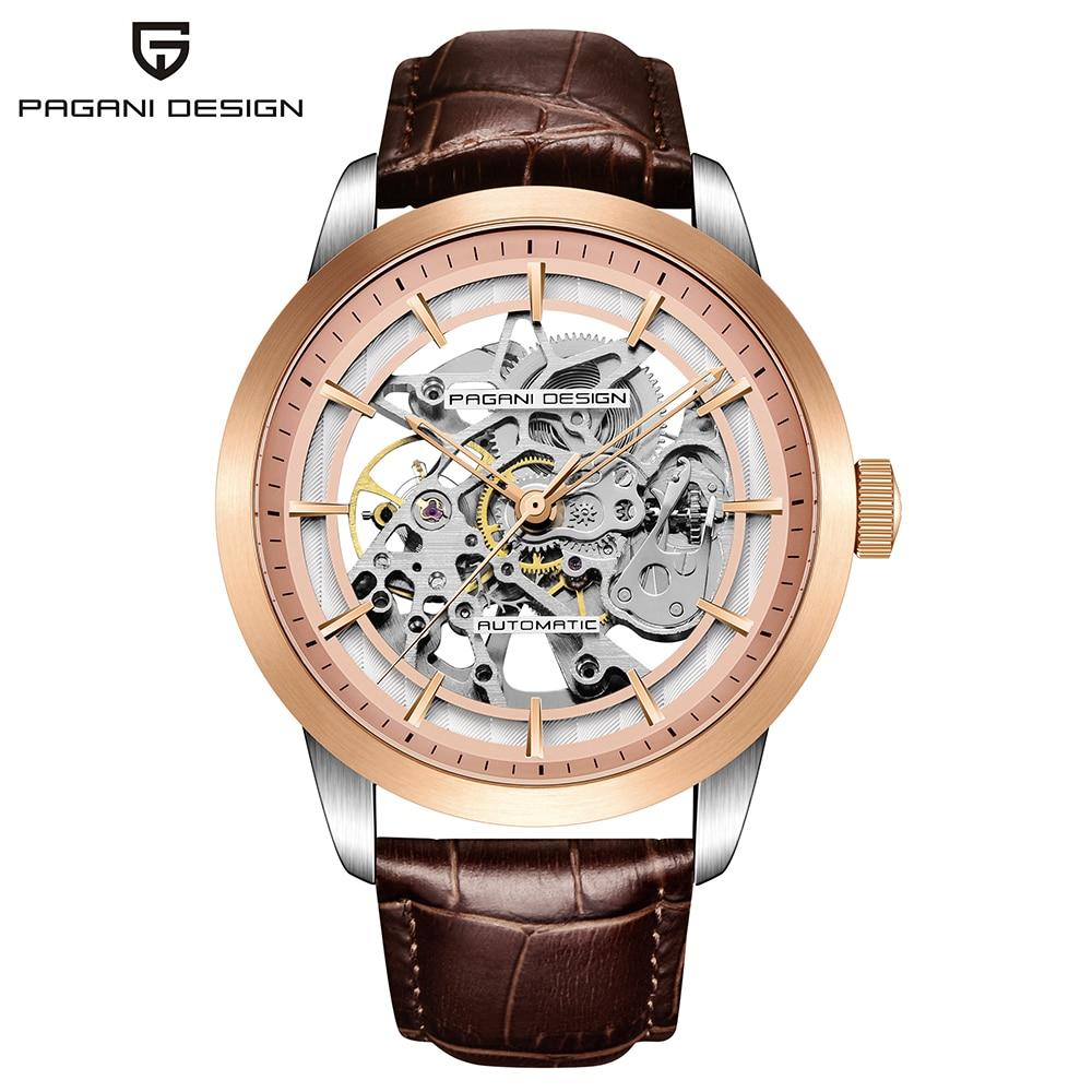 2018 moda Top marka luksusowy męski zegarek Pagani skórzane zegarek Tourbillon automatyczne mężczyźni zegarek mężczyźni stali mechaniczne zegarki w Zegarki mechaniczne od Zegarki na  Grupa 1