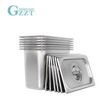 GZZT кастрюля из нержавеющей стали 1/3 GN, кастрюля Gastronorm в американском стиле, кастрюля для еды с крышкой, толщина 0,6 мм, 2 шт./лот, кухонные инструменты