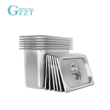 GZZT Stainless Steel 1/3 GN Pan Gastronorm Pan American Style Food Pan  With Pan Lid 0.6mm Thickness 2Pcs/Lot Kitchen Tools pan polaris grafitech 24c kitchen pans cookware pan with lid