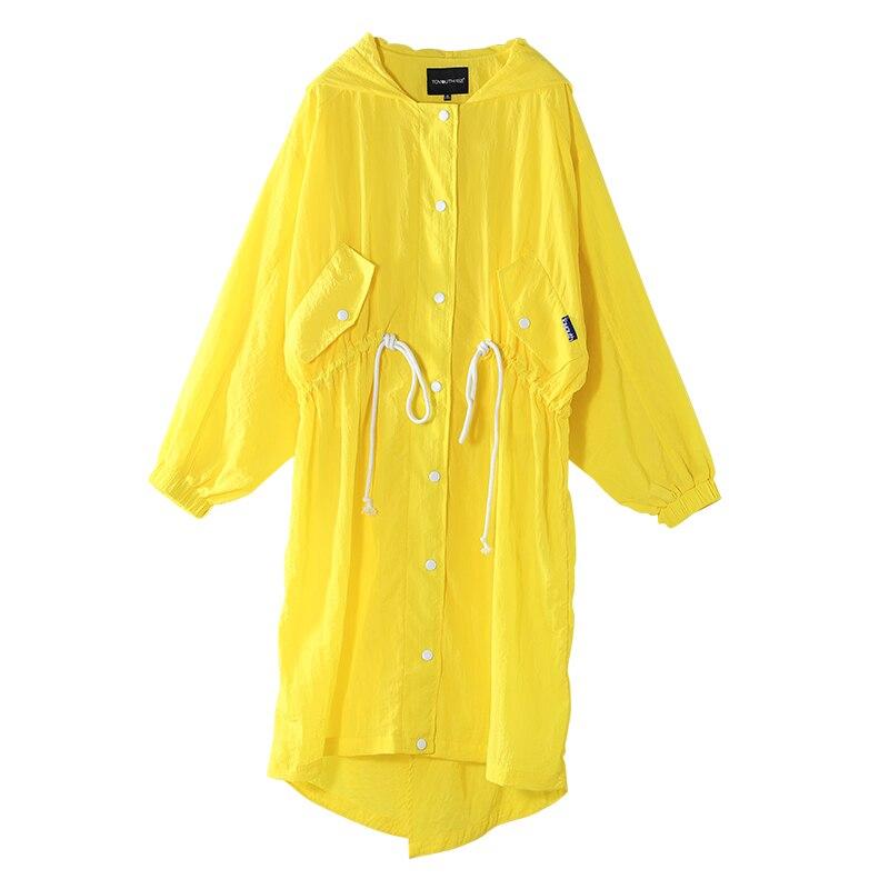 Veste Dame La Long Impressionnant Poncho white Mince Manteau Étanche Ceinture Taille Outwear yellow Capuche Black Élastique Toyouth Nouvelle Voyage Femmes À Mode De q5a5Utgw