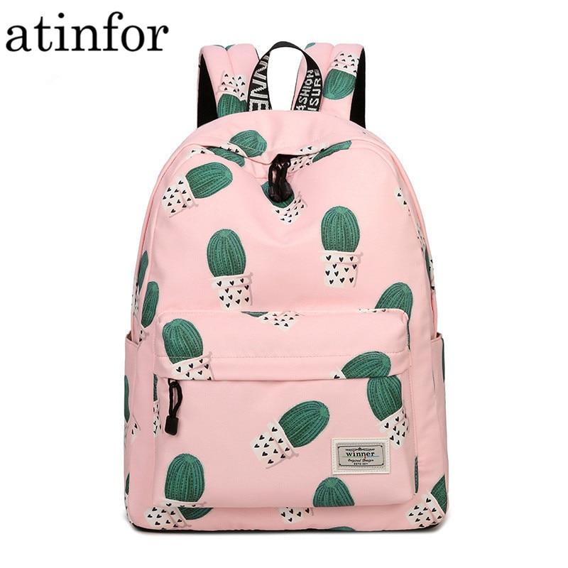 Backpack Women Bookbag Knapsack School-Bag Cactus Teenage Girls Waterproof Kawaii Pink