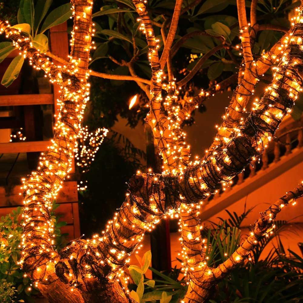 LEDERTEK Solar String Luces 72ft 200 LED 8 Modes Waterproof For Indoor/Outdoor Garden Patio Garden Party Wedding (Warm White)
