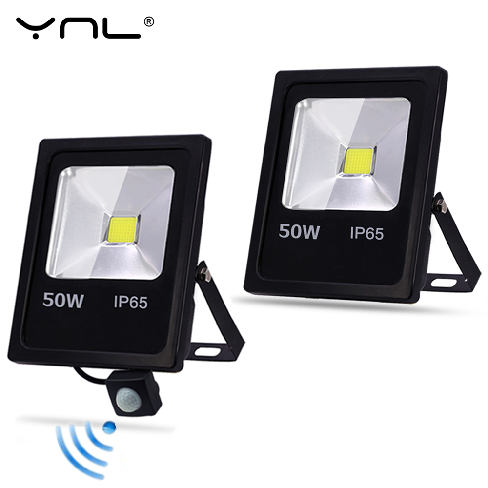 YNL Motion Sensor LED Flood Light AC 220V 10W 30W 50W Waterproof IP65 Outdoor