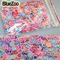 BlueZoo 1000 pcs Multi Estilo Flores Rosa Nail Art Fatias Diy 3D Adesivos de Unhas Fimo Decoração