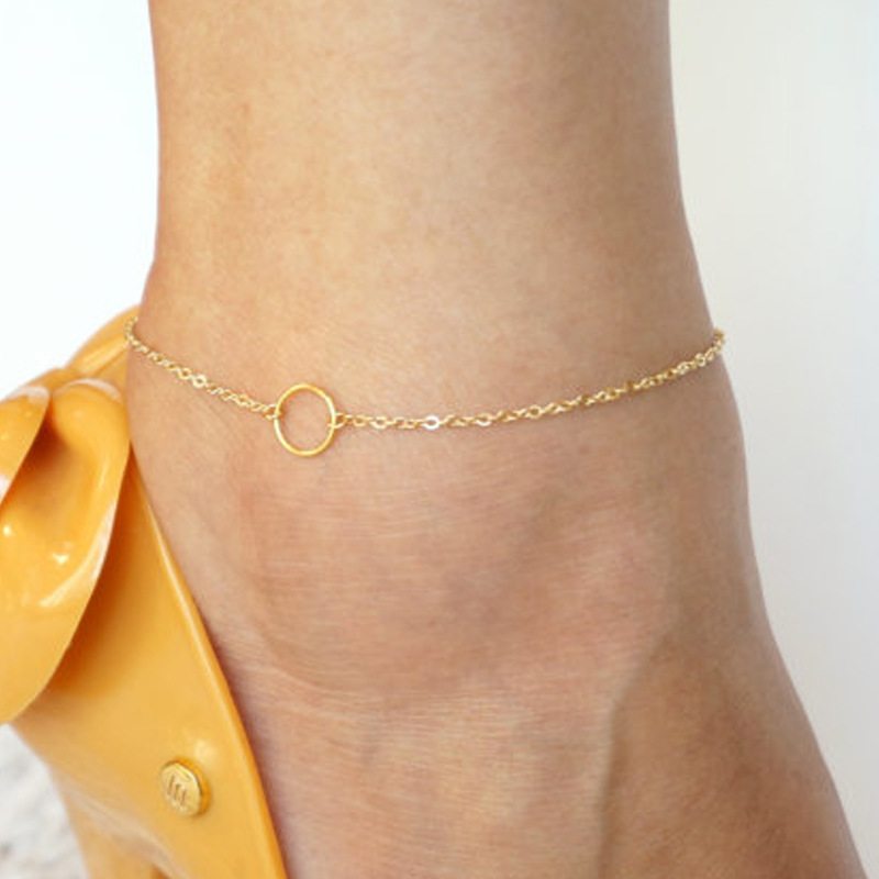 Sexy Women Stainless Steel Karma Round Circle Anklet Disc Fashion Foot Chain Stainless Steel Rose Gold Color Minimal Jewelry 040