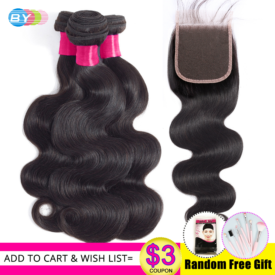 Bodywave Bundles With Closure BY Human Hair Bundles With Closure With Baby Hair 4pc lot Lace