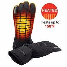 Теплые зимние перчатки с подогревом, 7,4 В, для мужчин и женщин, для активного отдыха, пешего туризма, катания на коньках, мотоцикла, умные перезаряжаемые перчатки с подогревом на батарейках
