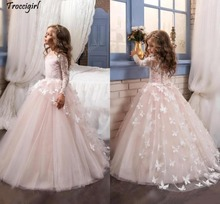 Lovely 2018 New Arrival Lace Flower Girls Dresses Long Illusion Sleeves Jewel Neck Ball Gown Handmade Butterflies Pagean