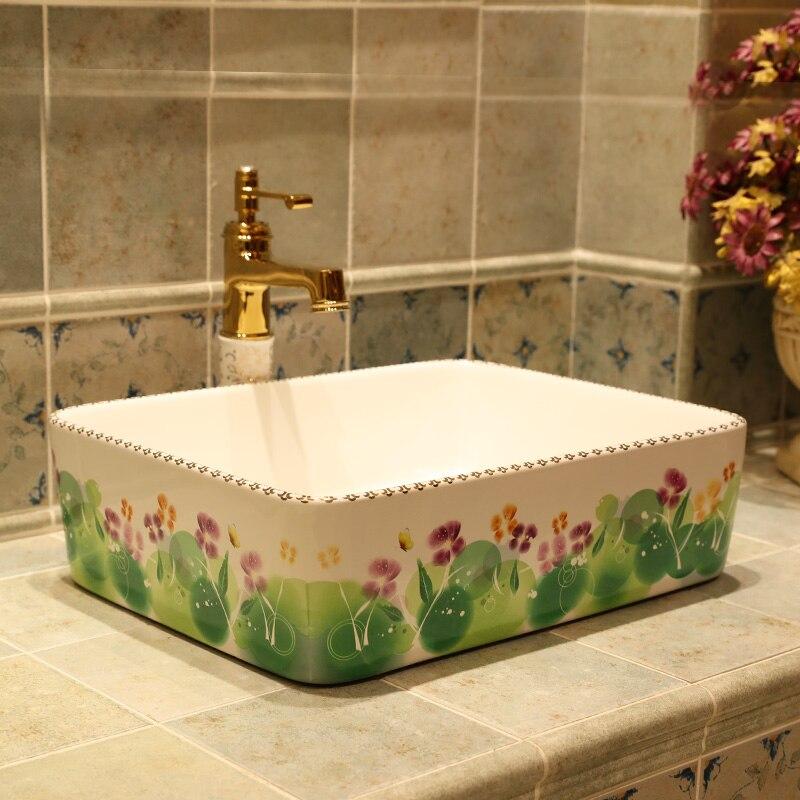 US $299.0 |Rechteckige China Handgemachte Waschbecken Waschbecken Kunst  waschbecken Keramik Arbeitsplatte Waschbecken Badezimmer Waschbecken ...