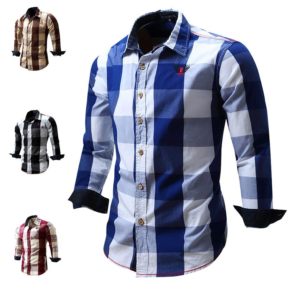 Mens Long Sleeve Blouses Lattice Plaid Painting Male Blouse Large Size Casual Top Shirts Blouse Shirts Camisa Masculina Elegant And Sturdy Package Men's Clothing