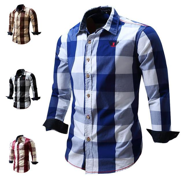 8a68fc4a78 Men's Slim Fit Casual Button Cowboy Dress shirt Long Sleeve Plaid Shirts 100%  Cotton