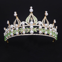 Gold Plated Baroque Vintage Green Crystal Rhinestone Large Tiara Crown Pearl Hair Accessories For Wedding Party
