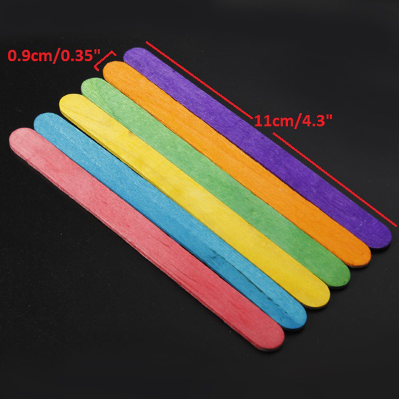50pcs DIY Art Craft Natural Wooden Flat Sticks Popsicle Ice Lolly Cream Bar 11 X 09